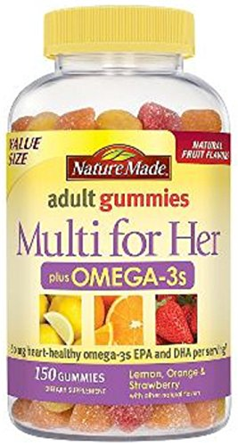 Nature Made Multi for Her Plus Omega-3S Adult Gummies. Pack of 1 x 150 Gummies. (Nature Made Multi Adult Gummies compare prices)