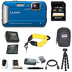 Panasonic Lumix DMC-TS30 Digital Camera (Red) with 16GB Accessory Bundle