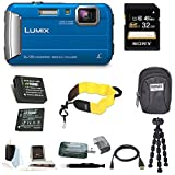 Panasonic DMC-TS30A LUMIX Digital Camera (Blue) with 32GB Accessory Bundle