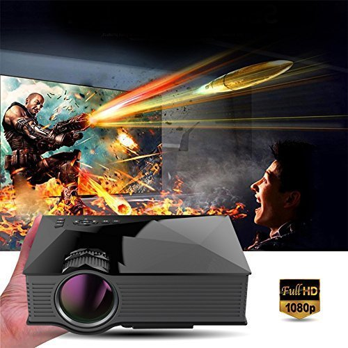 "Dinly Updated Full Color 130"" Image Entertainment Home Cinema Theater Multimedia Portable LCD LED Pico Projector 800x480p/1200 Lumens Wifi/Usb/av/sd/hdmi/vga/ IP/IR Video Games Movie"