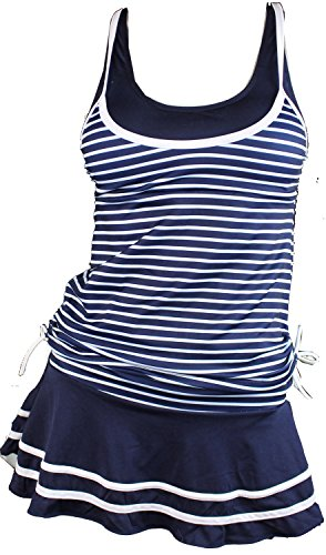 MiYang Women's Tankini Striped Trapeze Wim Dress (5505