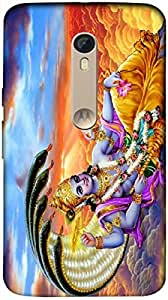 Timpax Protective Armour Case Cover lightweight construction easily slides in and out of pockets. Multicolour Printed Design : Vishnu God .Exactly Design For : Motorola Moto X-3 ( 3rd Gen )