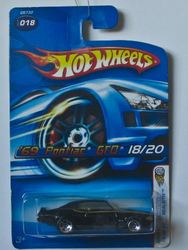 Hot Wheels Black 69 Pontiac Gto 18/20 2005 First Editions Realistix