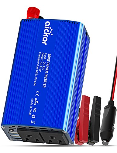 Aickar 300W Car Power Inverter For Car Jack DC To AC Power Inverter For Laptop Mobile Power Inverter USB Output 12V Power Inverter Car Charger - Blue (Whole House Solar Generator compare prices)