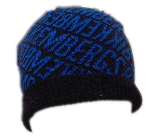 Cuffia Uomo Bikkembergs con risvolto HAt berretto cappello In lana Invernale Nero blu