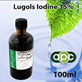 Lugols Iodine 15% (Full Strength) 100ml Glass Dropper bottle (incl Delivery & Same Day Shipment)