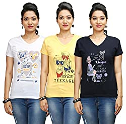 Flexicute Women's Printed V-Neck T-Shirt Combo Pack (Pack of 3)- Navy Blue, Yellow & White Color. Sizes : S-32, M-34, L-36, XL-38