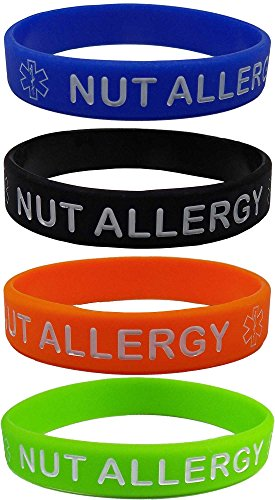nut-allergy-silicone-wristbands-blue-orange-green-and-black-kids-size-4-pack