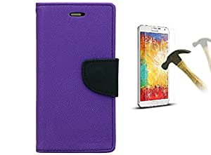 DENICELL Royal Dairy Style Flip Cover For Samsung Galaxy J5 (ORCHID PURPLE with TEMPERED GLASS)