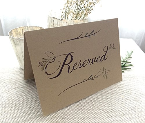 4 Pack- Rustic Reserved Wedding Table Signs - Folded Freestanding Kraft Table Signs (4) - 6.25