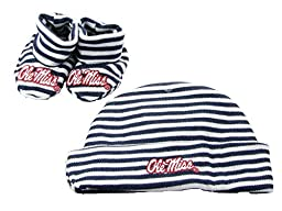 Ole Miss Rebels Blue White Striped Infant Newborn Hat Booties Baby Gift Set UM