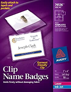 Avery Garment Friendly Clip Style Name Badges, 3 x 4 Inches, White, Side-Loading, Box of 50 (74536)