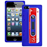 Blue Retro Tape Cassette Silicone XYLO-SKIN Case Cover & LCD Screen Protector Guard for the Apple iPhone 5 5G Mobile Phone