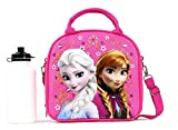 Disney Frozen Lunch Box Carry Bag with Shoulder Strap and Water Bottle (PINK)