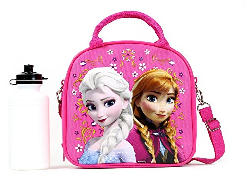 1 X Disney Frozen Lunch Box Carry Bag with Shoulder Strap and Water Bottle (PINK)