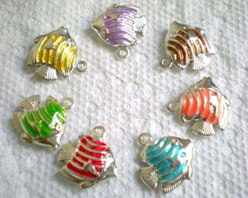 7Pcs Mix Colors Oil Drip 2-Side Fish Pendant Charms Fit Bracelet