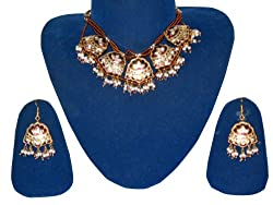 Party Wear Lacquer Jewelry Set Floral Meenakari Necklace Earring Sets