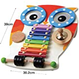 Wooden Musical Table - Xylophone, Guiro, 2 Drums, Cymbal and 2 Beaters