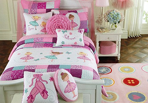 Toddler Bedding Set Ballerina Quilt Turquoise Purple Pink Cotton, Embroider Girl Bedding Twin Quilt - 1