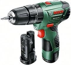 """Bosch Perceuse visseuse """"Universal"""" sans fil à percussion PSB 10,8 LI-2 à 2 vitesses avec coffret, 2 batteries et chargeur 0603983901"""