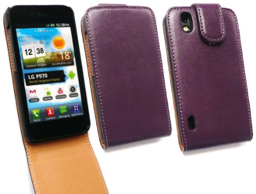 Emartbuy Lg Optimus P970 Black / White Luxus Pur-Leder Flip Case / Cover / Tasche Lila / Tan Und Lcd Screen Protector