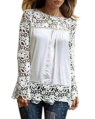 Rokou Women Sexy Embroidery Lace Floral Crochet Chiffon Long Sleeve Blouse Tops