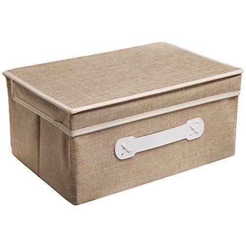 Decorative Boxes For Closets : Decorative beige woven collapsible fabric shelf storage