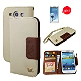 Galaxy S3 case, By HiLDA,Wallet Case,PU Leather Case,Credit Card Holder,Flip Cover Skin,Case for Samsung Galaxy SIII i9300[Brown]