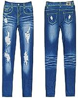 Ladies Vintage Jeans Legging Fake Hole Tight Stretchy Skinny Jeggings