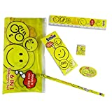 6 In 1 Kids Children Smiley Face School Stationery Pouch Set With Pencil + Sharpener + Eraser + Writing Pad +...