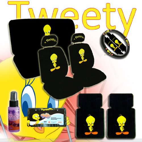 New Design 15 Pieces Tweety Bird Attitude Logo Car Seat Covers Set Includes Front And Rear Steering Wheel Cover Belt License Plate