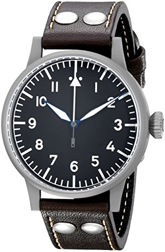 Laco 1925 Men's Automatic Watch with Black Dial Analogue Display and Brown Leather Strap 861748
