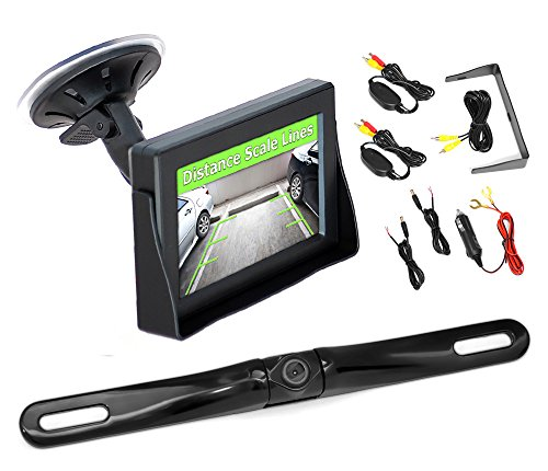 Pyle Plcm4350Wir Wireless Waterproof Back-Up Rearview License Plate Camera Parking Assist System, 4.3-Inch Screen, Distance Scale Lines front-780976