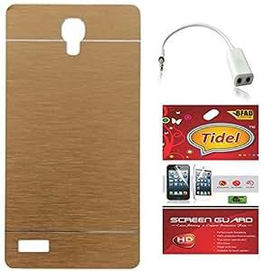 Tidel Aluminium Brushed Metallic Back Cover For Xiaomi Redmi Note ( Golden ) With Tidel Screen Guard & Audio Spliter