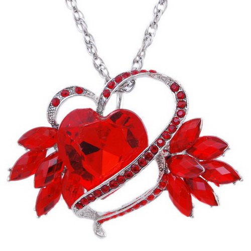 Imitate Zircon Pendant Necklace Wedding Chain Alloy Heart Rhinestone RED