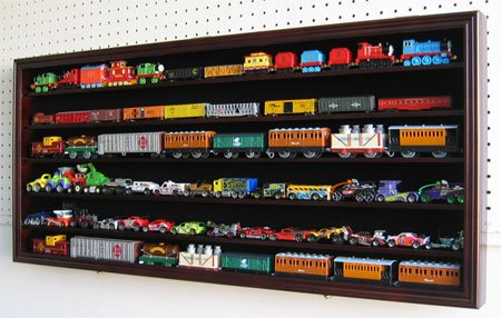 HO Scale Train Display Case Rack Cabinet Wall Mounted w/ UV Protection, Kid-Safe Door HW05-MAH (Glass Car Case Display compare prices)