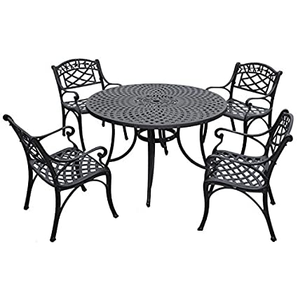 Crosley Furniture Sedona 48-Inch Five Piece Cast Aluminum Outdoor Dining Set with Arm Chairs in Black Finish