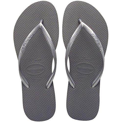 Havaianas Women's Slim Flip Flop, Grey/Silver, 39/40 BR/9-10 M US