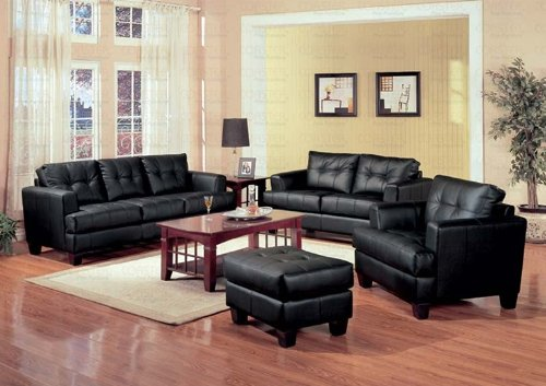 Buy Low Price AtHomeMart 4 PCs Black Classic Leather Sofa, Loveseat, Chair, and Ottoman Set (COAS501681-501682-501683-501684)
