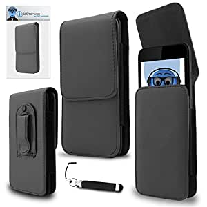 iTALKonline Alcatel One Touch Scribe X Grey PREMIUM PU Leather Vertical Executive Side Pouch Case Cover Holster with Belt Loop Clip and Magnetic Closure and Re-Tractable Captive Touch Tip Stylus Pen with Rubber Tip