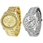Geneva Silver and Gold Plated Classic Round CZ Ladies Boyfriend Watch