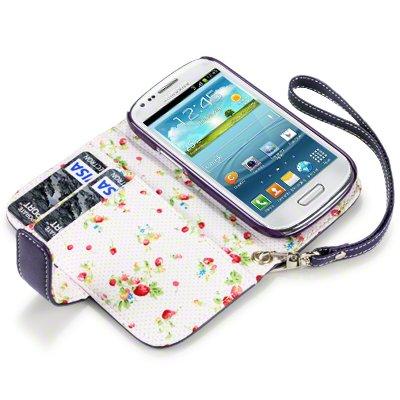 Flip Leder Handytasche Case Etui Hülle für Samsung Galaxy S3 Mini i8190 Violett Lila Floral Print innen