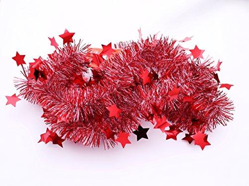 【星付き♪クリスマスモール(2m×2本セット/赤)】クリスマス/xmas/モール/パーティー/装飾/アレンジ/デコレーション/用品/天井飾り/RED