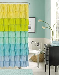 Flamenco ruffled bathroom shower curtain - Yellow and turquoise bathroom ...