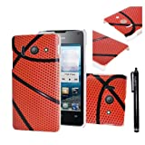 Hunye Hard Plastic Case for Huawei Ascend Y300 Protective Cover Basketball Pattern with Stylus Pen