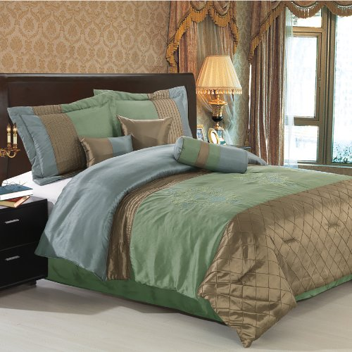 7Pc King Size Pacifica Sage Comforter Set By Sheetsnthings front-63754