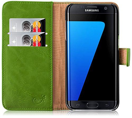 Cover Galaxy S7 Edge, JAMMYLIZARD Custodia Retro Wallet a Libro in Pelle per Samsung Galaxy S7 Edge, VERDE ERBA