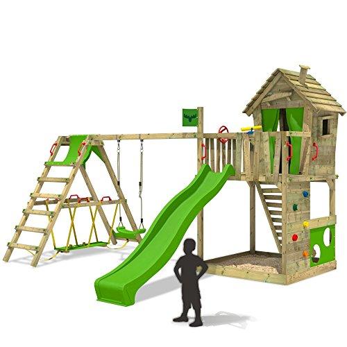 FATMOOSE-Spielturm-HappyHome-Hot-XXL-Stelzenhaus-Baumhaus-Klettergerst-mit-Schaukel-Surfanbau-und-Rutsche