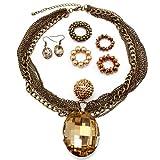 Trendy Multi Strand Chunky Brown Glass Pearl Swarowski Crystals Designer Inspired Bib Statement Necklace