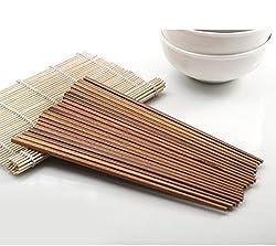 10 Pairs Long Brown Wooden Chopstick